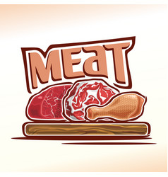 Logo raw meat vector