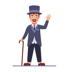 Lord in cylinder and a cane in his hand 19th vector
