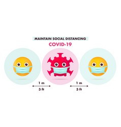maintain social distancing in public society vector image