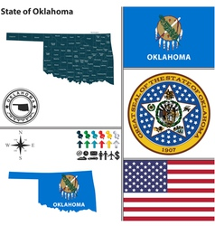 map oklahoma with seal vector image