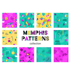 memphis seamless patterns collection vector image