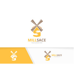 Mill and hands logo combination farm and vector