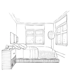 Modern bedroom with furniture vector
