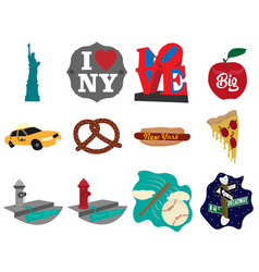new york city set icons image vector image