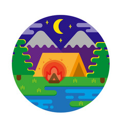 night camping vector image