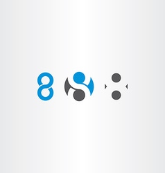 number 8 eight sign symbol set vector image