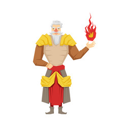old bearded wizard holding red magic ball vector image