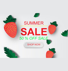 paper art of summer sale banner with strawberry vector image vector image