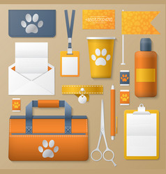 pet groomer identity template mockup vector image