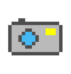 photo camera pixel art cartoon retro game style vector image