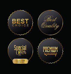 premium quality black and gold labels vector image