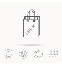 Present shopping bag icon Gift handbag sign vector image