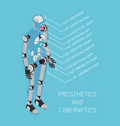 Prosthetics and cybernetics isometric composition vector