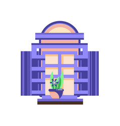 retro window with blue shutters and plant in vector image