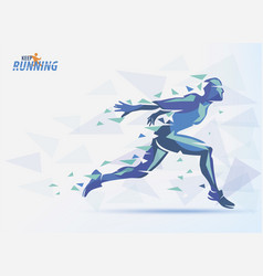 running man sport and competition background with vector image