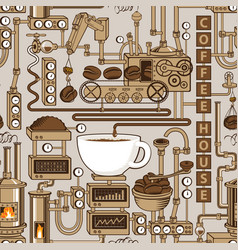 seamless pattern with a conveyor coffee production vector image