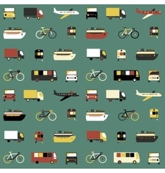 Seamless pattern with transport icons vector