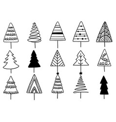 Set hand drawn christmas tree isolated vector