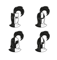 Set of icons of ancient helmets and vector