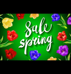 Spring Sale Word Hanging on Leaves with Strings vector