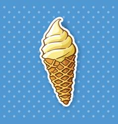 Sticker vanilla ice cream in waffle cone vector