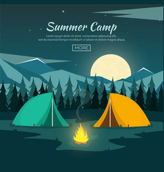 Summer camp night camping campfire pine forest vector