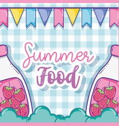 Summer juice and food vector