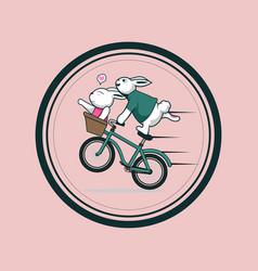 sweet couple rabbit design vector image