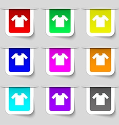 T-shirt icon sign Set of multicolored modern vector