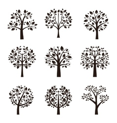 Tree silhouette with roots and branches vector