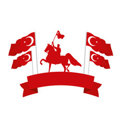 Turkish military on horse with turkey flags emblem vector