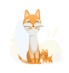two fox stand upright animals mom and baby vector image
