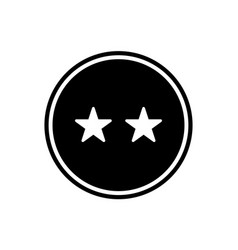 two stars round glyph icon rating icon isolated vector image