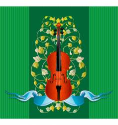 violin ribbon vector image