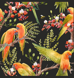 watercolor tropical parrots pattern vector image