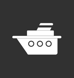White icon on black background ship silhouette vector