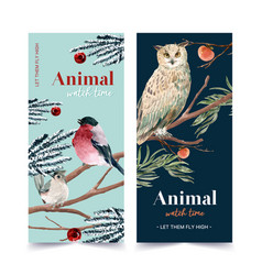 Winter animal flyer design with owl tufted vector