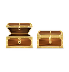 Wooden chest realistic set vector