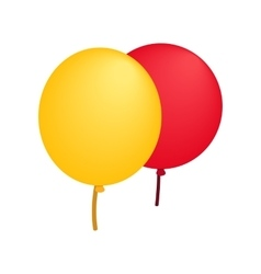 Yellow red balloons isometric 3d icon vector