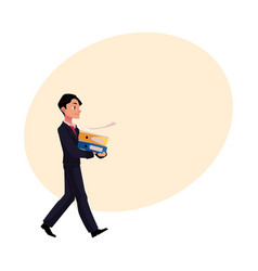 Young businessman going somewhere carrying vector