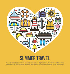 cruise set summer travel in shape of heart on vector image