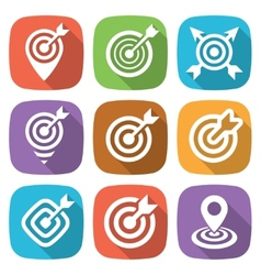 FLat target icon pack with shadow vector image vector image