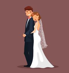 man and woman bride and husband hug at wedding vector image vector image