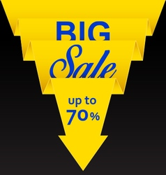 Sale poster with yellow ribbon vector image