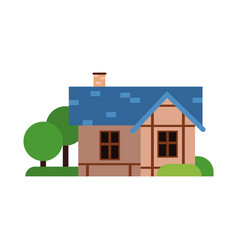 traditional old house with blue roof ancient vector image