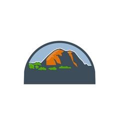 Mountains Trees Half Circle Retro vector image vector image