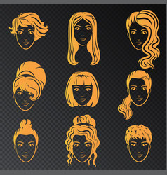 set of stylized gold logo with beautiful vector image vector image