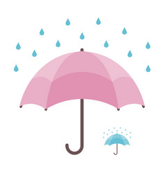 umbrella and rain isolated on white background vector image