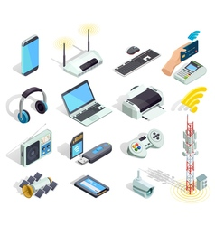Wireless Technology Devices Isometric Icons Set vector image vector image