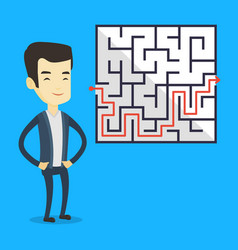 business man looking at labyrinth with solution vector image vector image